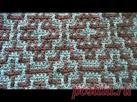 Мозаичное вязание схема описание узор Mosaic crochet pattern Evgeniya Crochet
