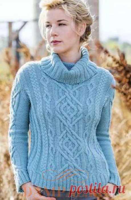 "Women's knitted sweater \""Braided Brook\""   Damskiye Palchiki. ru"
