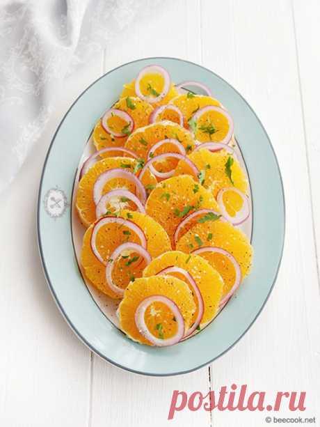 Сицилийский салат с апельсинами - beecook.net Простой рецепт приготовления салат из апельсинов с красным луком.