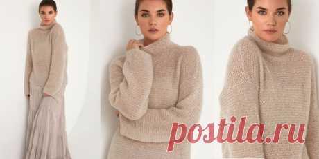 Свитер из мохера Beige Модный женский свитер из мохера свободного фасона, вязаный спицами платочной вязкой, с описанием из новой коллекции весна 2019 года.