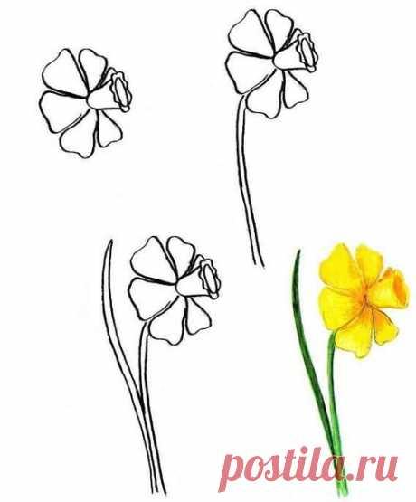 Рисуем цветы - Поделки с детьми | Деткиподелки