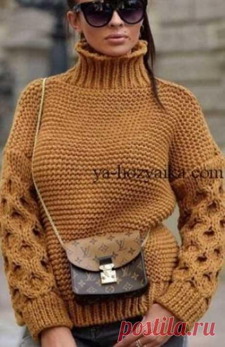 Свитер крупной вязки спицами схемы. Вязаные свитера 2019 с описанием Вяжем модный свитер для зимы. Свитер крупной вязки спицами схемы.