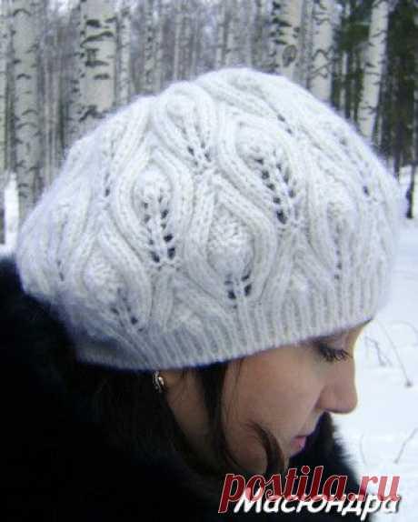 Берет с листочками из рубрики Вязание для женщин. Вязание спицами модели и схемы на kNITKA.ru