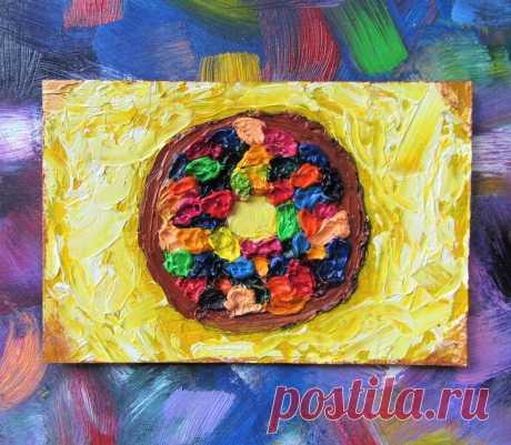 Сhocolate Donut Oil Painting Dessert Original Art Food Still   Etsy