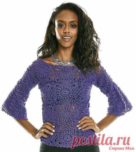 Ультрафиолетовая блуза из цветочных мотивов - Все в ажуре... (вязание крючком) - Страна Мам