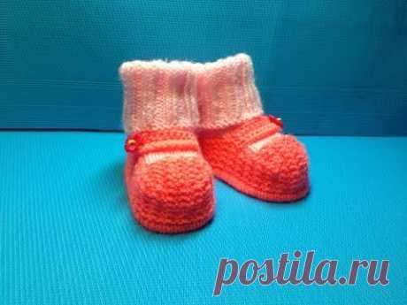 Вязание спицами пинетки -носочки #62