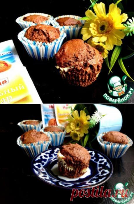 Шоколадные кексы с творожным центром - кулинарный рецепт