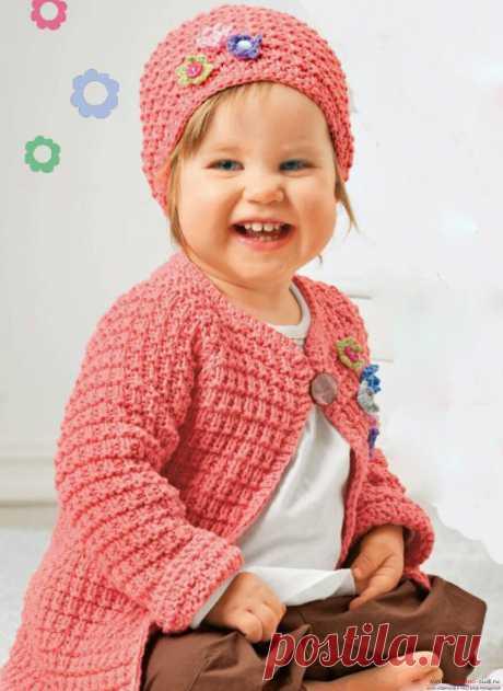 Детская кофта реглан и шапочка спицами   Моё хобби.Вязание для детей.   Яндекс Дзен