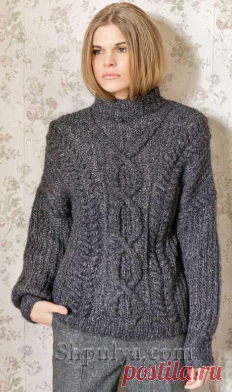 Пуловер с «Ромбами» и «Косами» спицами - SHPULYA.com