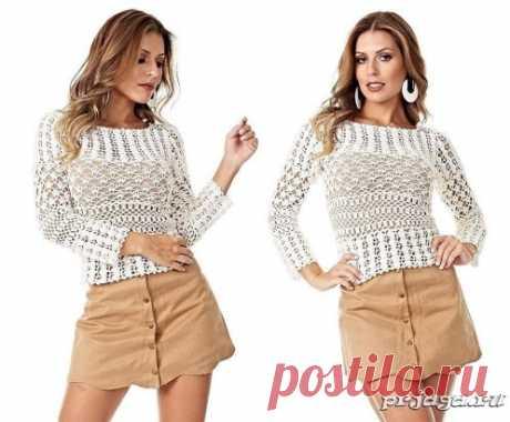 White jacket hook mix of patterns\u000d\u000aHow to knit: http:\/\/prjaga.ru\/vyazanie-dlya-zhenshchin\/top-azhurnaya-koftochka\/belaya-koftochka-kryuchkom-miks-uzorov