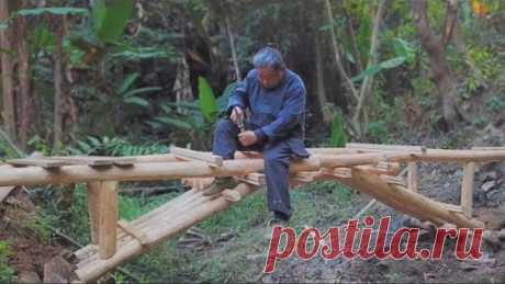 阿木爷爷榫卯打造一座木拱桥,全程无钉子,高手在民间