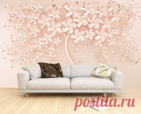 3Д обои с деревом с розовых тонах