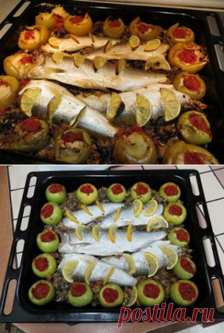 Запеченная фаршированная рыба с грибами | DAMские PALьчики. ru