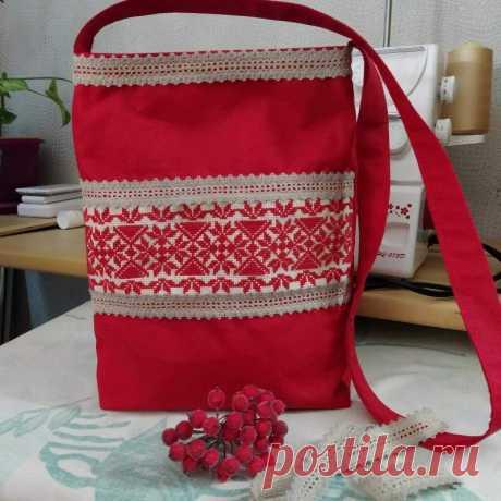 Текстильная сумка с орнаментом ручной работы