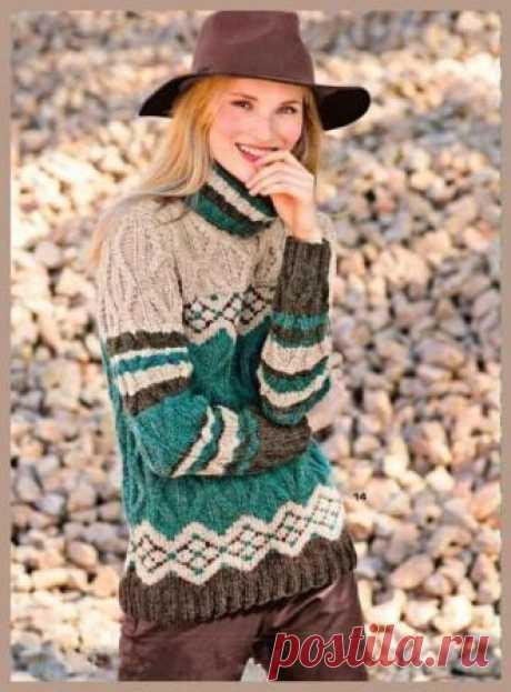 (+2) Пуловер с узором из ромбов и жаккардовым узором (вязание спицами)