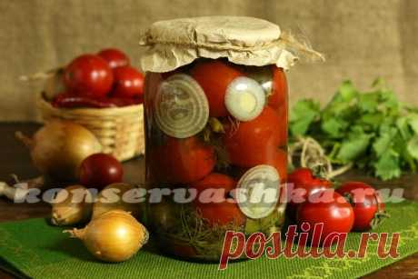 Tomatoes with onions for the winter, the recipe without sterilization