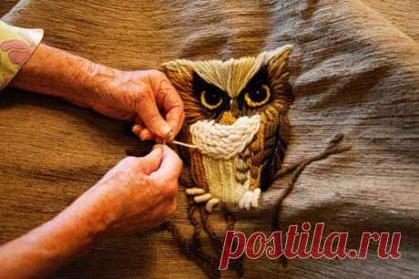 Volume satin stitch embroidery of the scheme