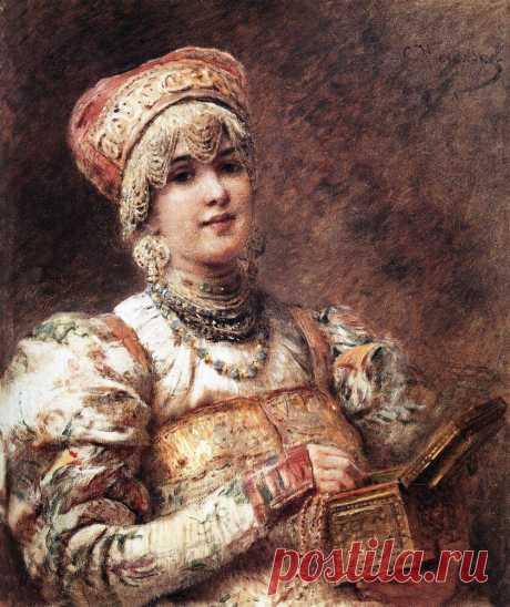 Художник Константин Егорович Маковский (1839-1915). Боярышня