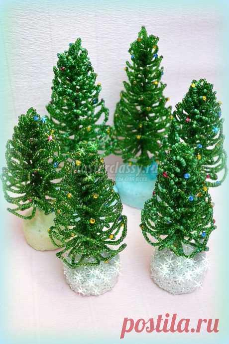 Пушистые новогодние елки из бисера. Мастер-класс с пошаговыми фото. Автор: Елена
