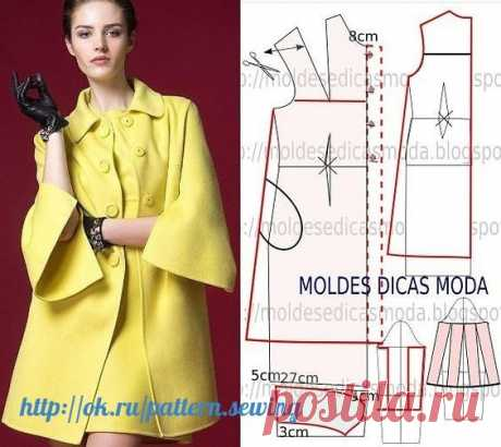Модные и простые выкройки лёгкого женского пальто