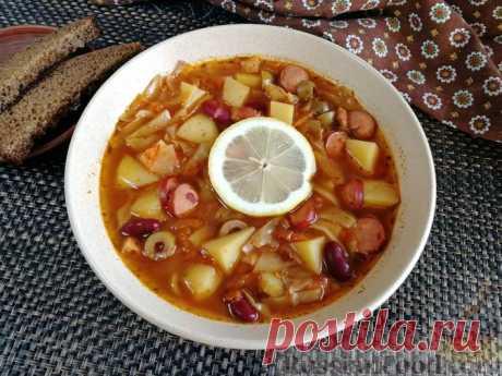 Рецепт: Фасолевый суп с капустой, сосисками и оливками на RussianFood.com