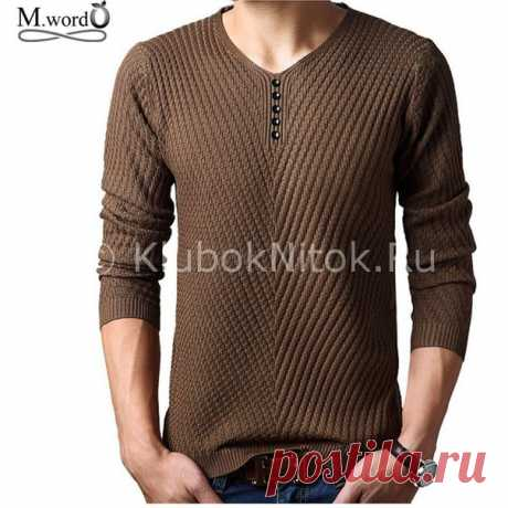 Вяжем мужской пуловер простым узором спицами.