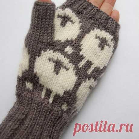 Варежки без пальцев ручной работы [Овечка] темно-серый х белый | Handmade Market minne