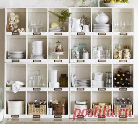Интересные варианты хранения посуды: 30 фото-идей | Тысяча и одна идея Независимо от больших или маленьких размеров кухни, часто перед ее владельцем встает вопрос: где хранить всю посуду и домашнюю утварь? Ведь кухня — это бесконечное количество предметов: крупы, ножи, столовые приборы, посуда, приправы, овощи — и среди всех этих вещей нужно навести порядок, так, чтобы они всегда были под рукой.Пока подбирала информацию, чего только не нашла, но так как тематика другая, не...