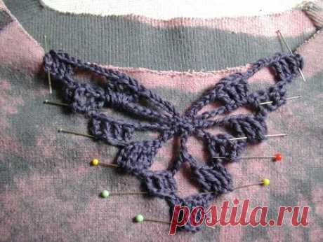 How to Embellish with Crochet Inserts - CraftStylish, good tutorial