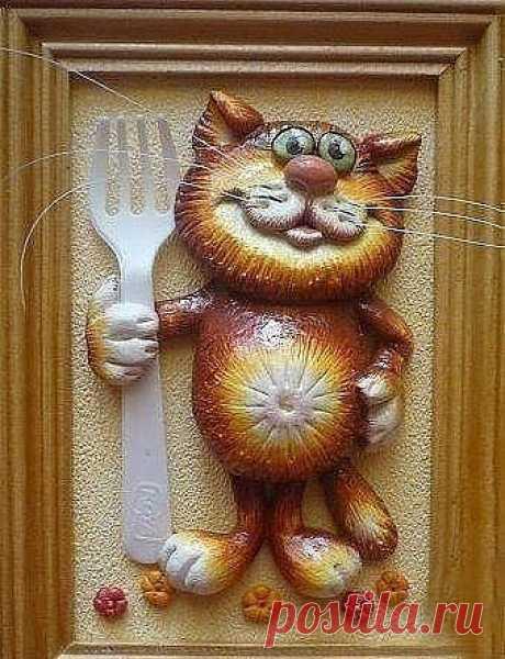 Котик из солёного теста