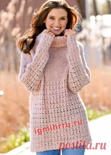 Розовый свитер со сквозным ажурным узором. Вязание крючком со схемами и описанием