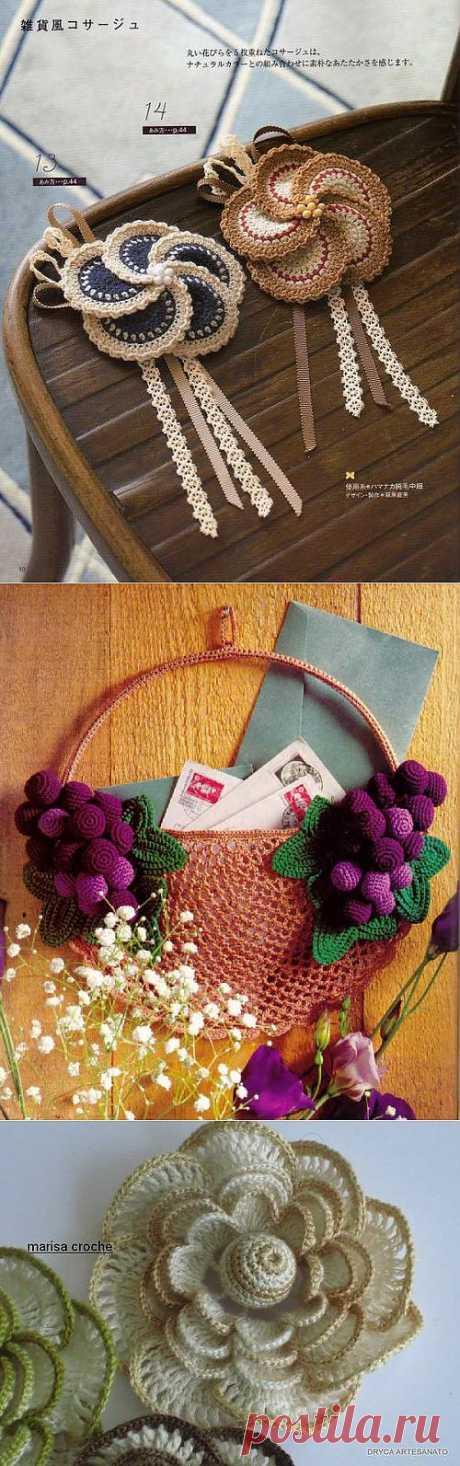 ЦВЕТЫ И КОЕ ЧТО ЕЩЕ.. Здесь очень красивое виноградное панно крючком, цветы, украшения и идеи для вдохновения.