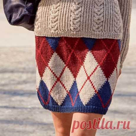 Прямая юбка с ромбами - схема вязания спицами с описанием на Verena.ru