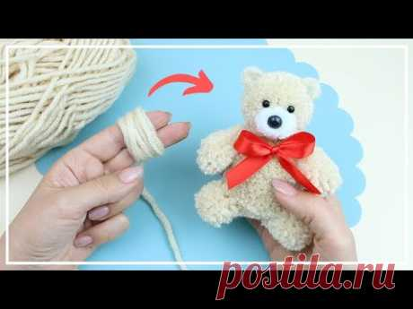 Как сделать пушистого Мишку из Ниток 🐻 Yarn Teddy Bear Making 🌟  DIY NataliDoma