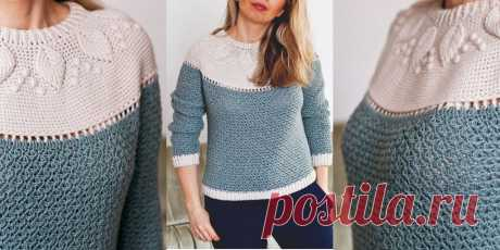 Женский пуловер крючком с кокеткой листиками