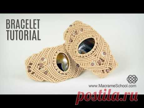 Macrame Bracelet with Stone - Tutorial in Vintage Style