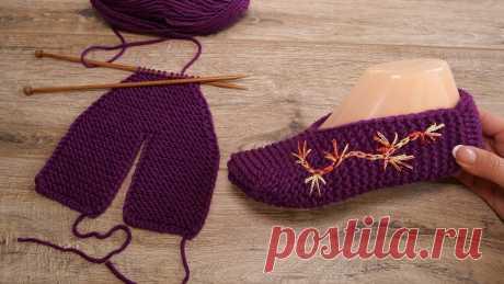 Бесшовные следки с вышивкой спицами | Seamless Slippers knitting pattern Бесшовные следки с вышивкой спицами | Seamless Slippers knitting pattern Описание: https://prjaga.ru/vyazanie-dlya-zhenshchin/noski-tapki/besshovnye-sledki-s-...