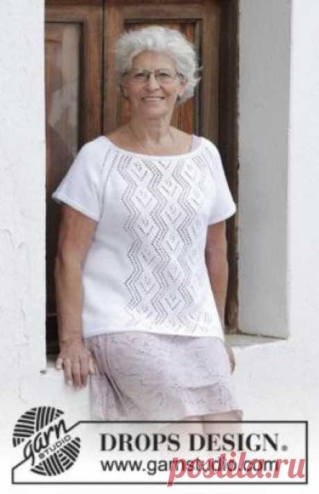 Топ Ромбы в ажуре Чудный летний топ для женщин, связанный на спицах 3.5 мм из хлопковой пряжи. Вязание модели выполняется по кругу, при этомпо...