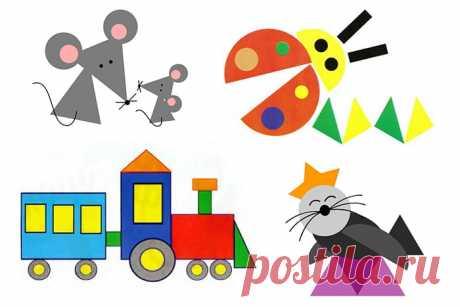 Аппликация из геометрических фигур для дошкольников, 1, 2, 3 класса (64 фото). Геометрическая аппликация из разных фигур: шаблоны кошки, машины, домика для детей