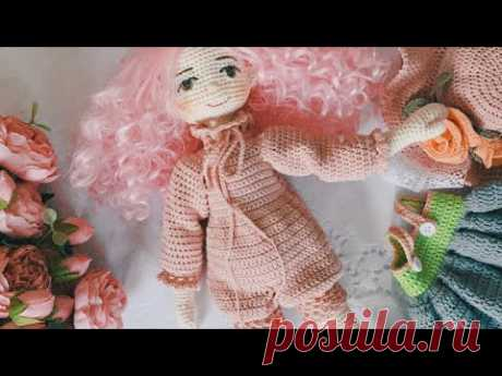 Doll jumpsuits crochet tutorial ( tilda doll outfit )