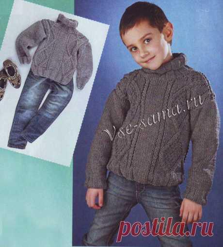 Серый свитер для мальчика - Детские пуловеры, свитера, джемпера спицами