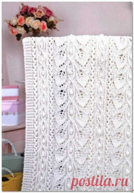 Симпатичный ажурный узор для вязаного пледа