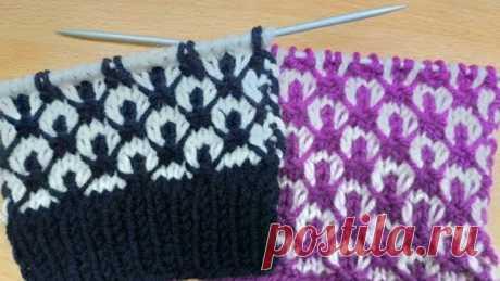 Двухцветный узор ВОСТОЧНЫЕ МОТИВЫ . Вязание спицами.