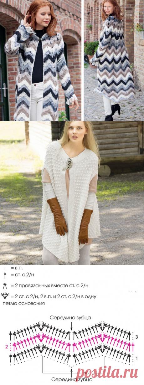 Оригинальное пальто с узором «зигзаг» » Женский Мир