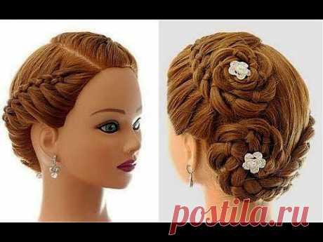 Плетение косы из 4-х прядей,  на каждый день. Hairstyle for every day (4 Strand Braid) - YouTube