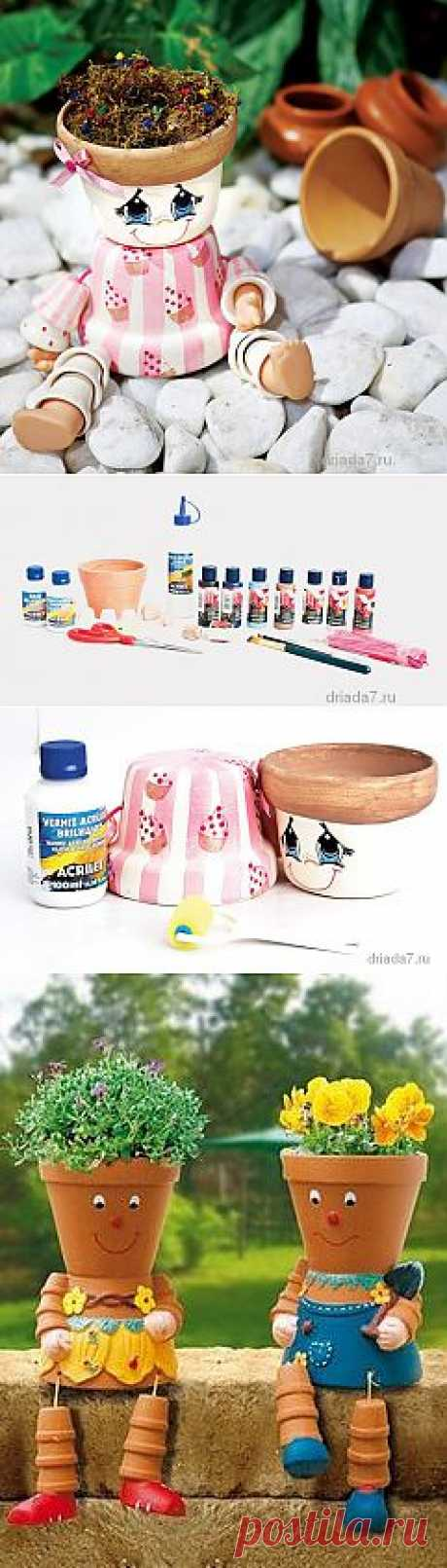 Забавное цветочное кашпо для дачи. Инструкция изготовления.