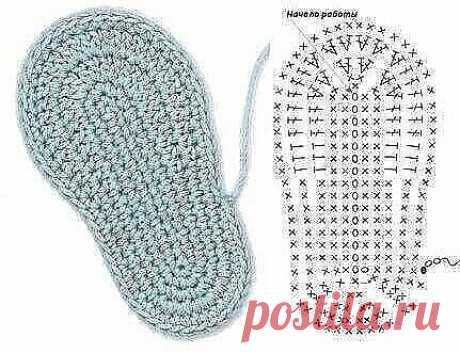 Идеальная подошва для обуви крючком  для любителей вязания.