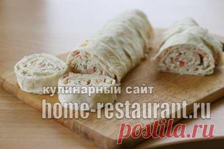 Лаваш с начинкой «Санторини»: с крабовыми палочками и брынзой - Домашний Ресторан