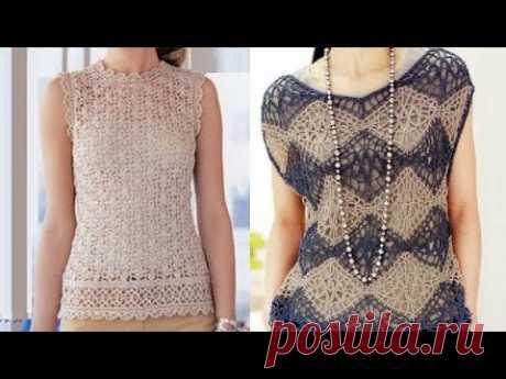 Летние топы крючком со схемами - Summer crochet tops with patterns - YouTube