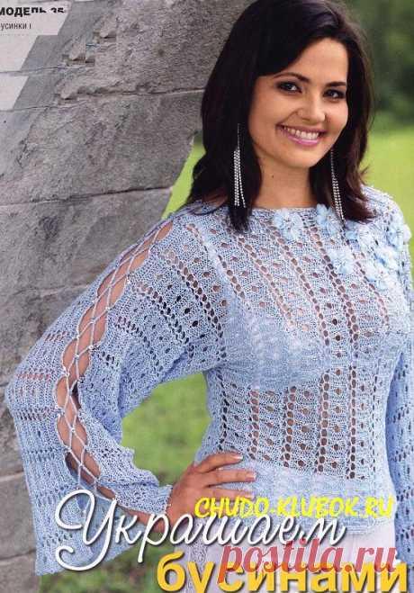 Пуловер с бусинами вязаный спицами 25  